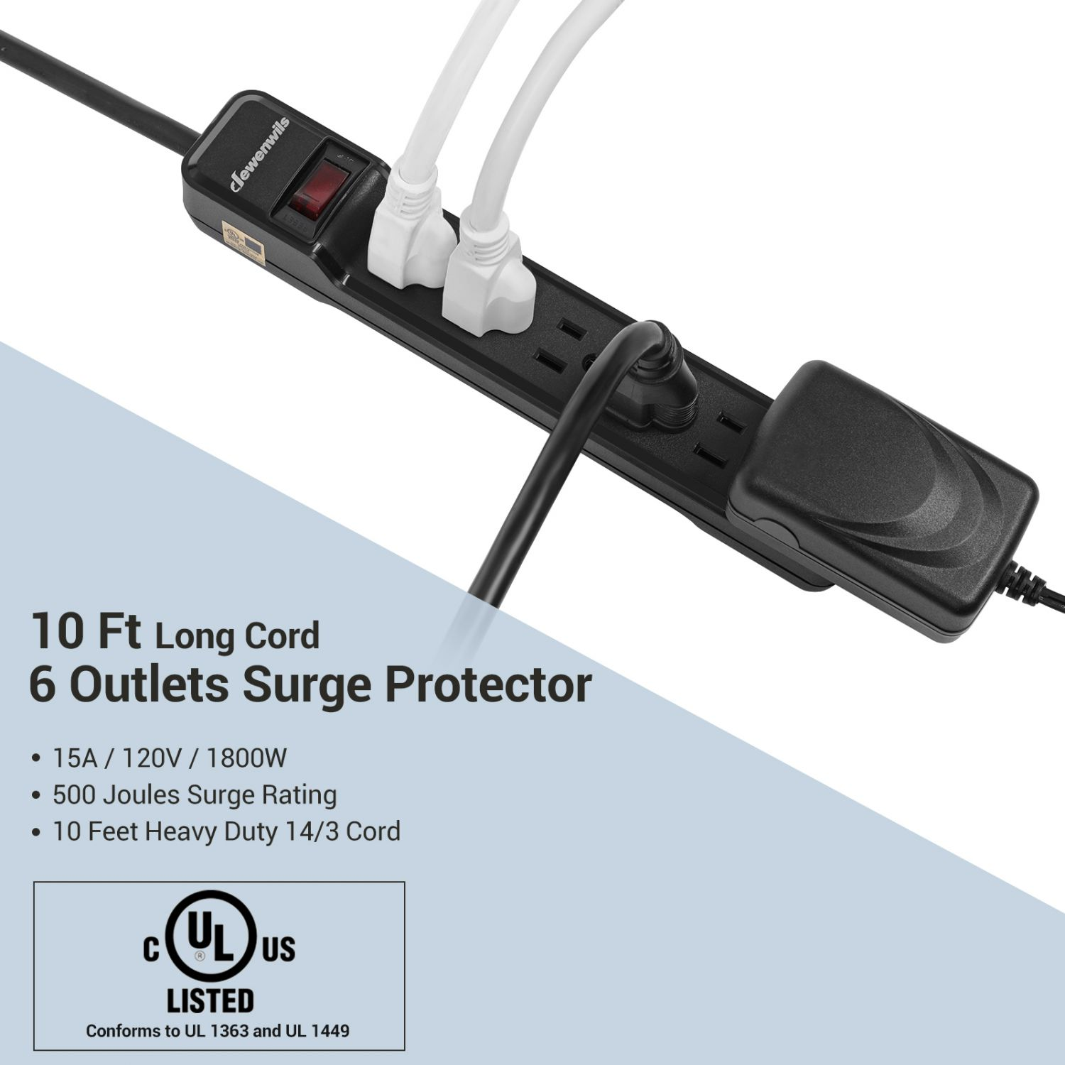 Heavy Duty Power Strip Surge Protector 10-Outlet Metal Long Extension Cord 6-Foo