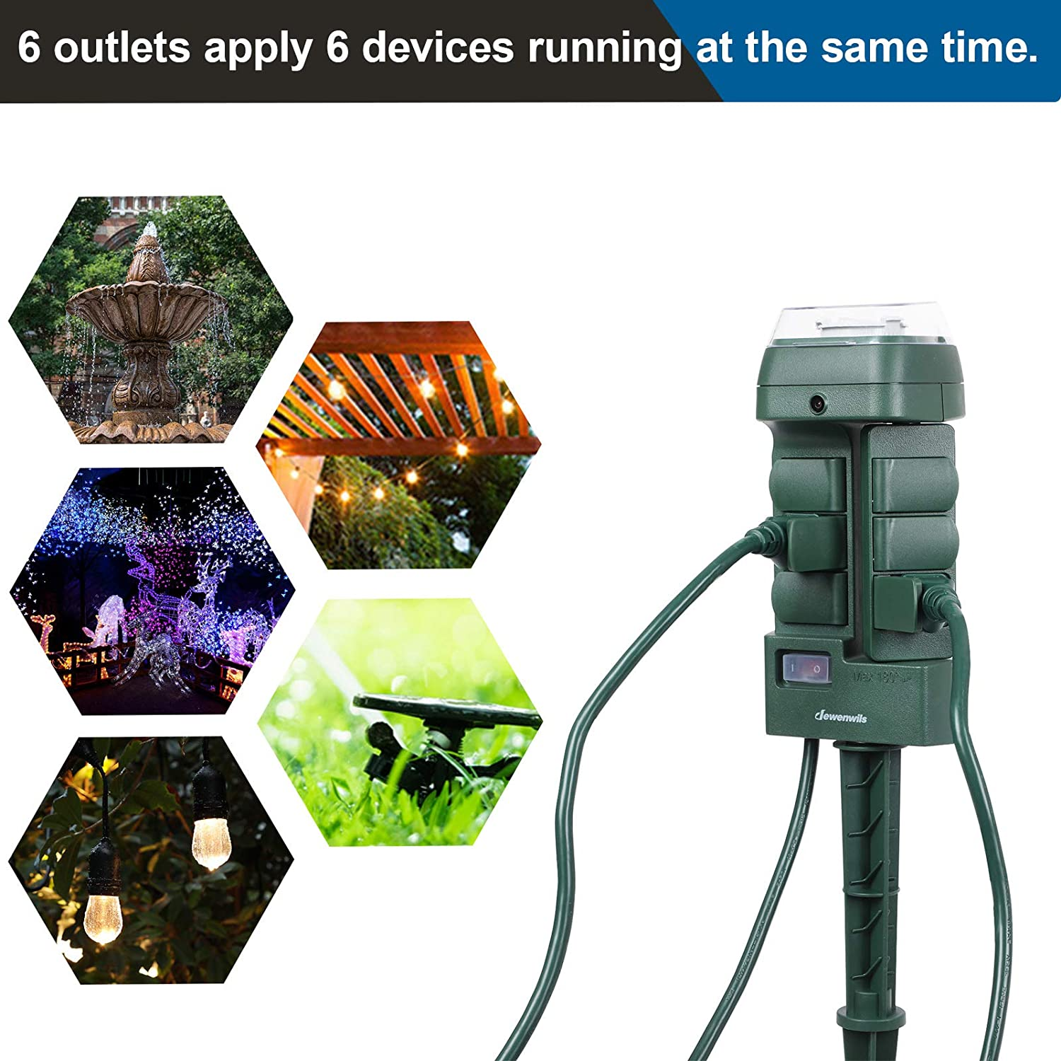 FCC and ETL Certified 6 FT Extension Cord DEWENWILS Smart Outdoor Power Strip Weatherproof Compatible with Alexa WiFi 6 Outlet Yard Stake Timer Switch for Lights Google Assistant and IFTTT